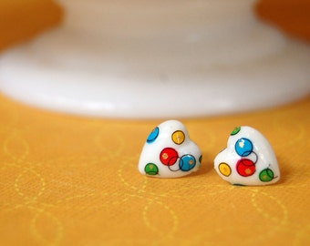 vintage japanese heart post earrings- glass cabochon - bubble pattern - kitsch