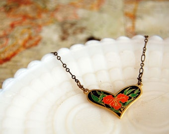 vintage enamel black heart necklace with orange tropical flower- aged brass chain