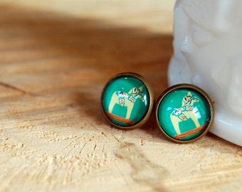 dala horse framed post earrings- jade green background- vintage style