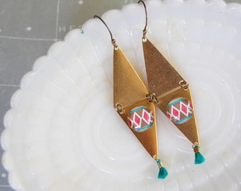 double triangle brass dangle earrings with teal tassel- geometric cabochon
