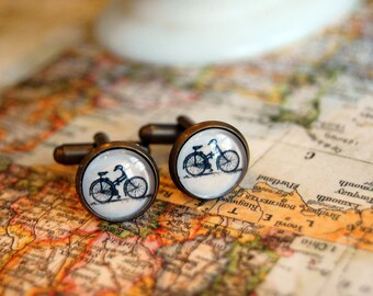 aged brass vintage bicycle cuff links- men's gifts- black and white
