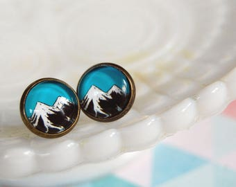 double mountain framed post earrings - twin peaks inspired- pacific northwest