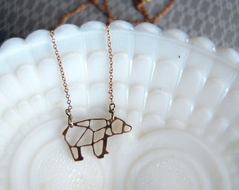 raw brass geometric design bear necklace- ursa minor - vintage brass- laser cut animal
