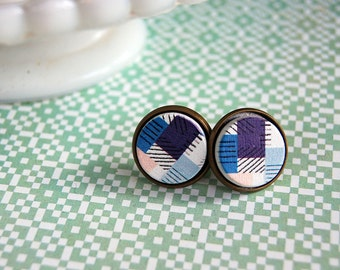 patchwork wooden framed post earrings- geometric pattern- large size- 14mm- vintage inspired