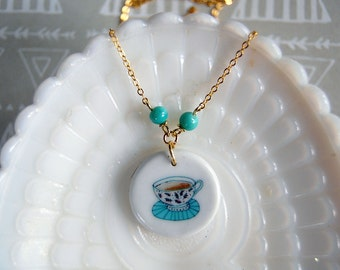 tea time - ceramic teacup charm necklace with vintage turquoise bead accent- gold plate chain