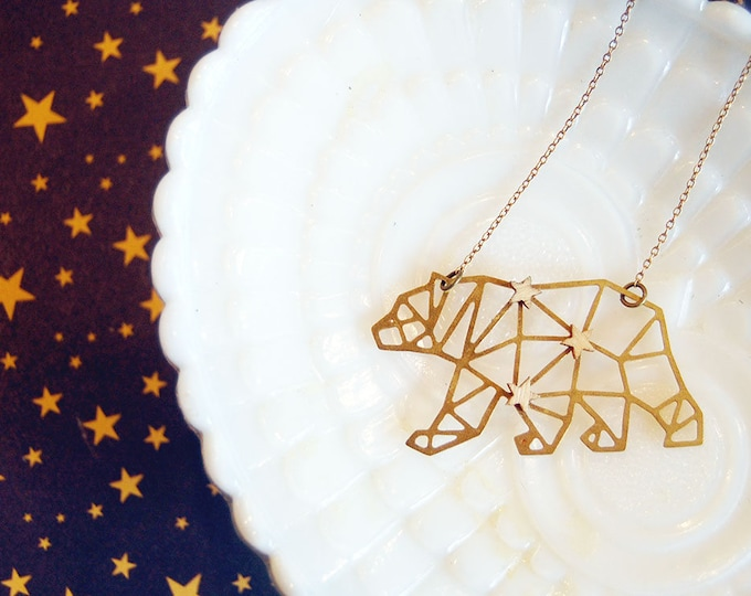Featured listing image: Ursa Major constellation large bear brass geometric charm necklace - wood star accent- california- vintage