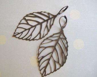 Large Aged Brass Leaf Filigree Dangle Earrings- Old oak.