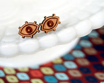 tiny eye wood post earrings- mystic style- protection
