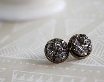 faux druzy pyrite style framed post earrings - aged brass tone