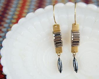 Vintage Modern deco - gothic dangle earrings- brass-hematite