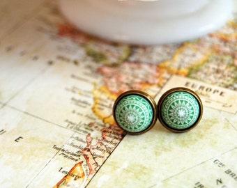 Scandinavian post earrings- medium size- vintage winter green in antique brass frame- fair isle