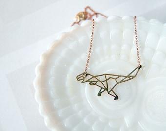Tyrannosaurs Rex brass modern geometric dinosaur necklace- vintage modern- laser cut animal