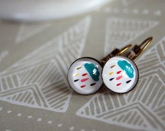 april showers- rainbow rain cloud lever back earrings- aged brass nickel free