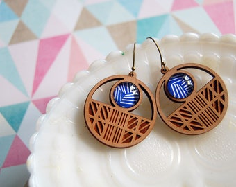 Lightweight laser cut wooden dangle earrings- glass cabochon detail- modern bohemian