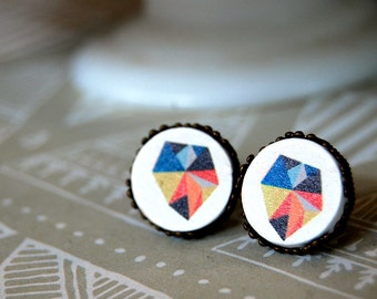 modern geometric framed post earrings-illustration- wooden cabochon