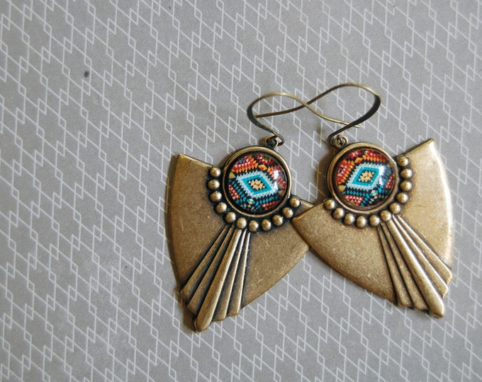 Featured listing image: southwest tribal pattern aged brass dangle earrings- pendleton style- brass ox- fall fashion
