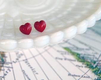sweet heart vintage post earrings- glass cabochons- valentines - simple love