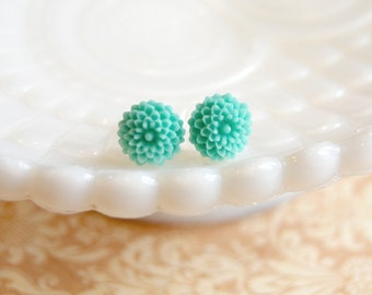 Mint Icing Tiny Mum Post Earrings - pale turquoise- vintage inspired flowers