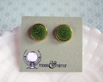 lime glitter gold tone frame post earrings
