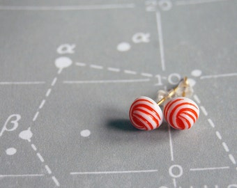 vintage summer- nautical knot orange-y red and white vintage post earrings