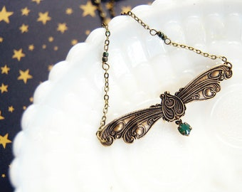 Vintage Firefly flying bug necklace - beetle- lighting bug- insect- steampunk- brass