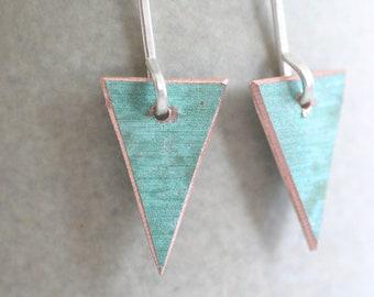 Triangular verdigris copper earrings