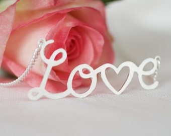 Handmade Silver Love Necklace