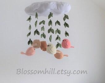 Custom made cloud and bird  baby mobile - soft neutral 3D nursery decoration