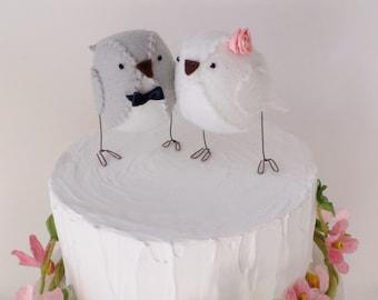 Wedding cake topper, lovebirds, grey and white,  custom made
