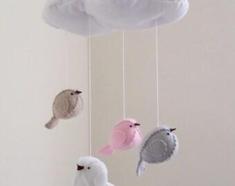 Nursery mobile pink and grey decor - bird mobile - cloud mobile