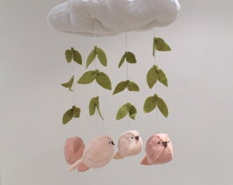 Baby mobile - nursery decoration - cloud, birds and leaves in blush, peach and green