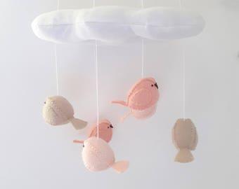 Nursery decor - cloud and bird baby mobile - blush nursery