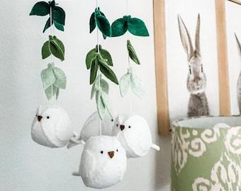 Birds and leaves baby mobile - Gender neutral nursery decoration - botanical mobile