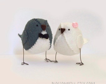 Wedding cake topper, love birds in grey and white,  personalised wedding decor