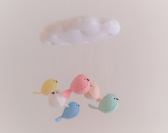 Birds and cloud baby mobile - 3D pastel nursery decoration