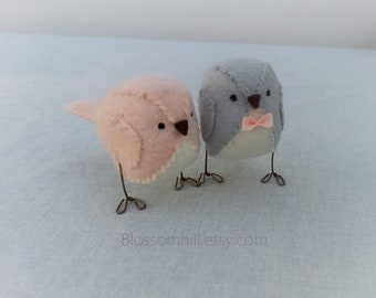 Wedding cake topper, 3D lovebirds in pale peach and silver grey custom made