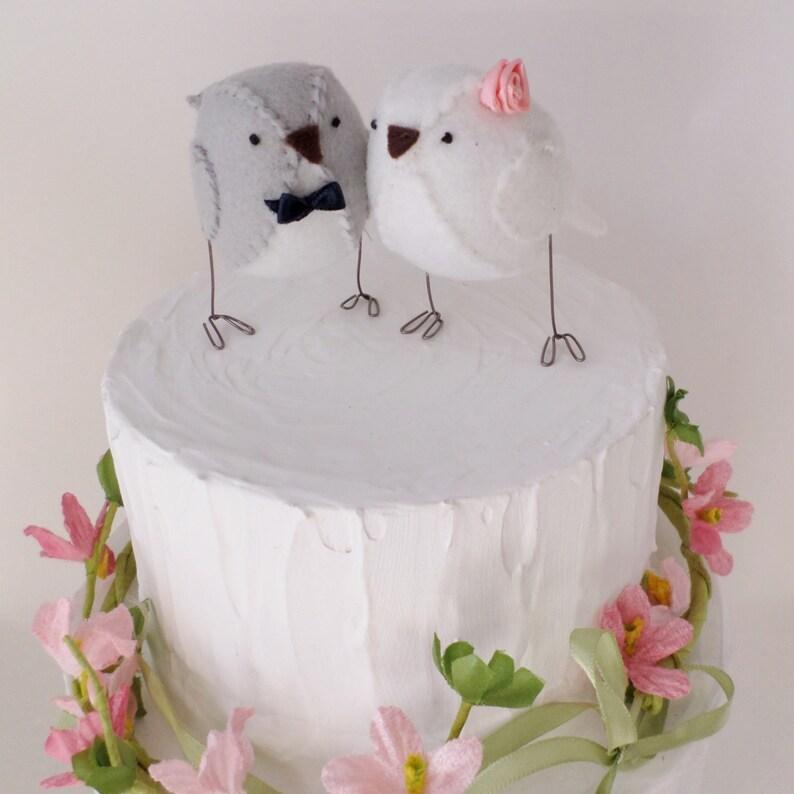 Wedding Cake Topper Lovebirds Grey And White Custom Made Etsy