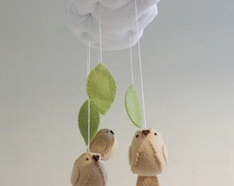 Woodland baby mobile - cloud and bird nursery decor