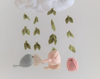 Baby mobile - nursery decoration - cloud, 5 birds and willow leaves