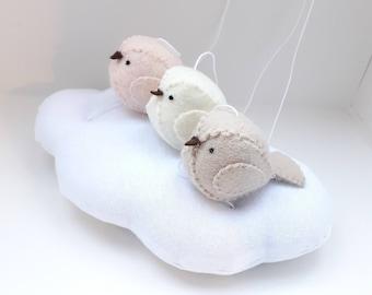 Baby mobile - natural nursery - gender neutral tones - pale peach, light beige, cream