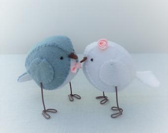 Blue and white wedding cake topper - handmade love birds