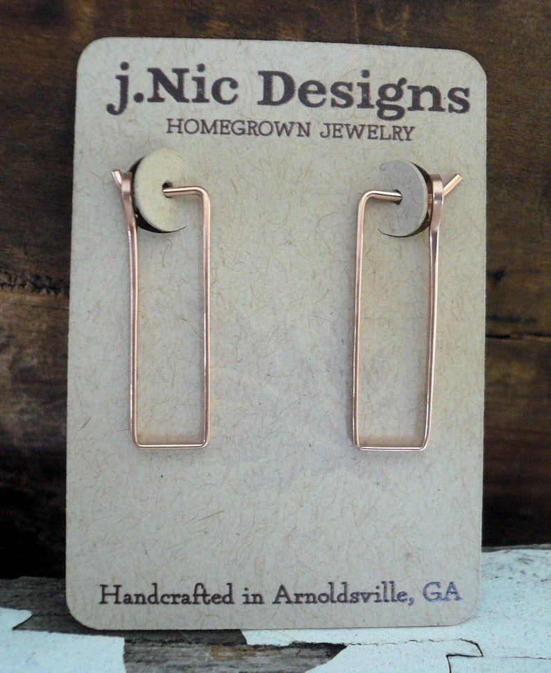Handmade 14kt Rose Goldfill Rectangular Hoop Earrings Hand forged Choice of 3 sizes Svelte Hoops