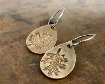 Fall Earrings - Handmade. Bronze and Oxidized Sterling Silver dangle earrings