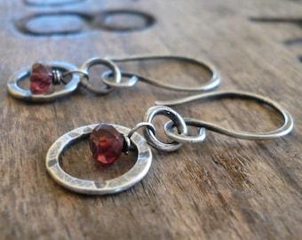 Halo Earrings - Handmade. Gemstones. Oxidized, Hammered Sterling Silver