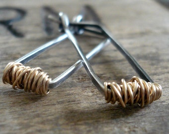 Tangled Hoops - Handmade. Hand Forged. 14kt Goldfill & Oxidized Sterling Silver Earrings