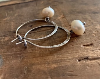 Mangly Hoops with Pearls - Choice of 6 sizes. Handmade. Hammered. Sterling silver oxidized hoops. White freshwater pearls.