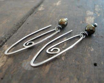 Tittle - Handmade Earrings. Pyrite, Oxidized Sterling Silver Dangle Earrings
