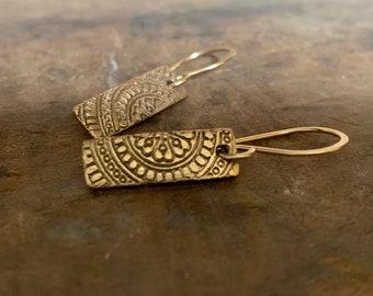 Mandala Tab Earrings - Handmade. Bronze and 14kt Goldfill.