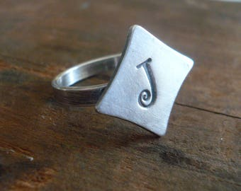Monogram Ring - Sterling & Fine Silver Oxidized Ring. Hand made by jNic Designs