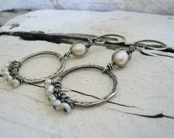 Mississippi Earrings - Freshwater pearls. Oxidized, hammered sterling silver. Handmade